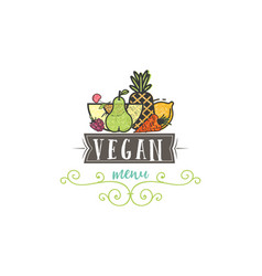 symbol healthy cooking logo and organic food vector image
