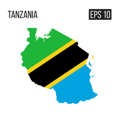 Tanzania map border with flag eps10 vector