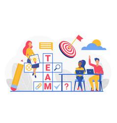 team crossword cartoon business people working vector image