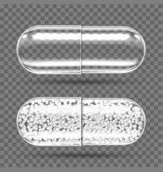 transparent capsules empty and with granules vector image