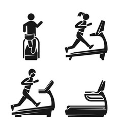treadmill icon set simple style vector image