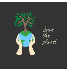 Tree on earth ecology concept vector
