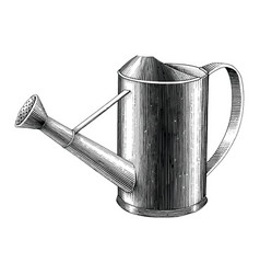 Vintage water can hand drawing engraving black vector