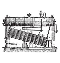 Water tube boiler vintage vector