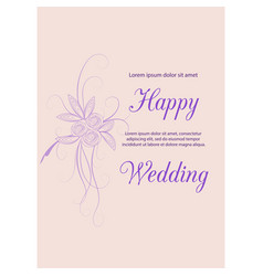 wedding invitation card suite with flowers design vector image