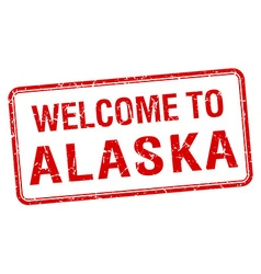 welcome to Alaska red grunge square stamp vector image