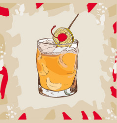 Whiskey sour cocktail alcoholic bar drink hand vector