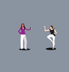 woman using smartphone camera girl taking photo of vector image