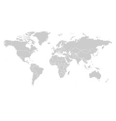 World map in grey color on white background high vector