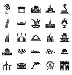 world religion icons set simple style vector image