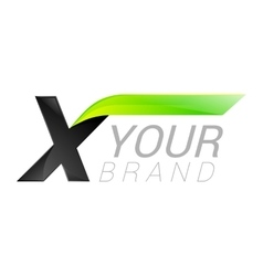 X letter black and green logo design Fast speed vector image