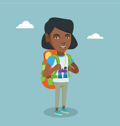 Young african-american traveler with a backpack vector