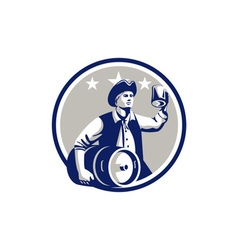 American Patriot Carry Beer Keg Circle Retro vector image