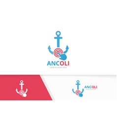 Anchor and click logo combination marine vector