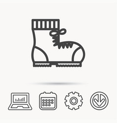 Boot icon hiking or work shoe sign vector