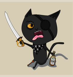 cat pirate with a bottle of rum and a blade cute vector image vector image