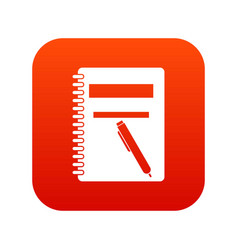 closed spiral notebook and pen icon digital red vector image