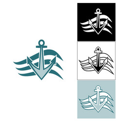 logo anchor on the waves vector image vector image