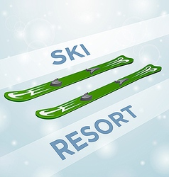 Ski resort skiing in motion vector