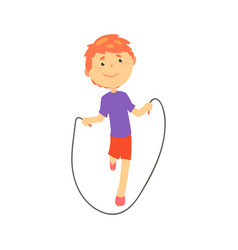 sportive boy jumping with a rope kids physical vector image