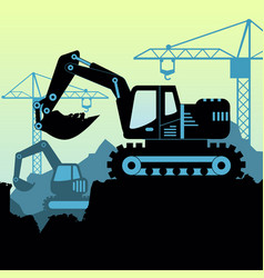 background of excavator loader vector image vector image
