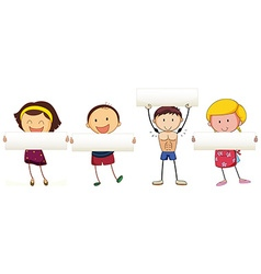 Children holding white banner vector image vector image