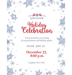 Christmas party invitation with frosty snowflakes vector