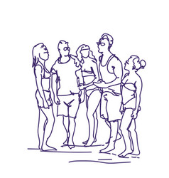 group of sketch people talking standing together vector image
