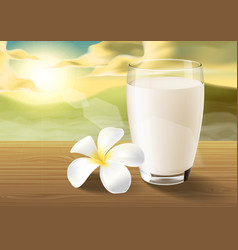 milk and plumeria on wooden table on the morning vector image vector image
