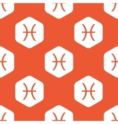 Orange hexagon pisces pattern vector