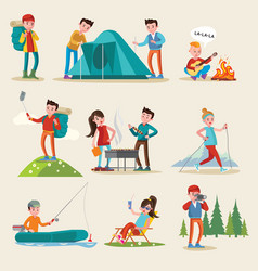 backpacking and camping tourism set vector image