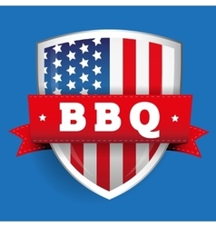 Barbecue vintage shield with USA flag vector image vector image