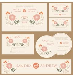 Beautiful vintage wedding invitation cards vector