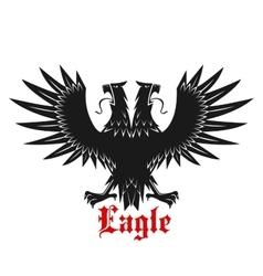 Double headed black heraldic eagle icon vector image vector image