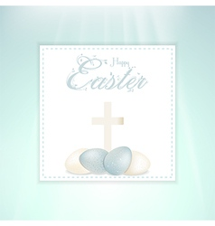Easter speckled eggs and cross on panel vector image