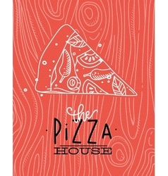 Poster slice pizza wood coral vector image vector image