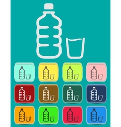 set of isolated water bottle and amp vector image vector image