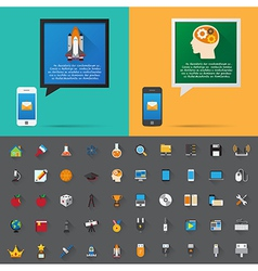 Smartphone alert and flat icons collection Set 4 vector image vector image