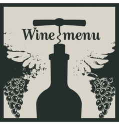 Wine menu with a bottle with a corkscrew vector image