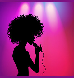 afro american girl singing silhouette vector image vector image