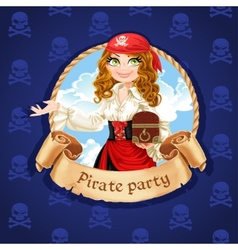 Brave pirate girl with treasure chest vector image