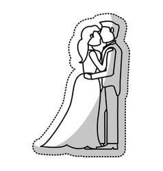 couple embrace wedding romantic outline vector image vector image