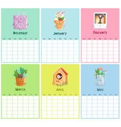 endless calendar template first half vector image vector image