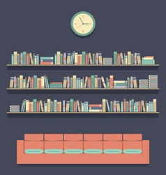 Flat Design Reading Seats and Bookshelves vector image vector image