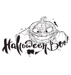 halloween boo text pumpkin spider web silhouette vector image vector image