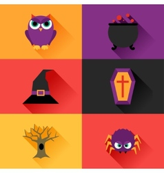 Happy halloween icon set in flat design style vector image
