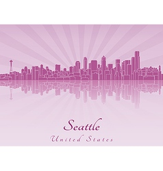 Seattle skyline in purple radiant orchid vector image