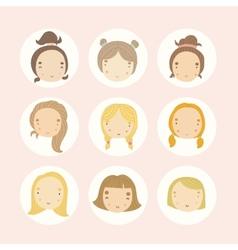 Set of 9 cartoon girls faces vector image vector image