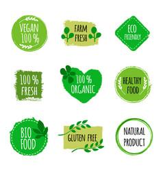 set of vegan logos badges signs hand drawn bio vector image vector image