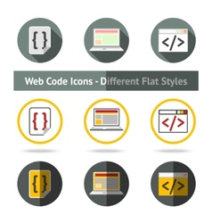 Set of Web Code icons in different flat styles vector image